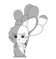 line pretty girl with balloons and casual wear vector image vector image
