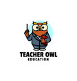 logo teacher owl mascot cartoon style vector image