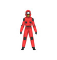 man in red protective suit and helmet vector image vector image