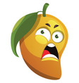mango cartoon angry face on white background vector image vector image