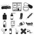 medicine and treatment black icons in set vector image vector image