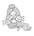 mermaid with two big fish vector image vector image