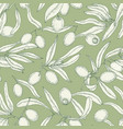 monochrome seamless pattern with olive tree vector image
