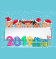 new year banner 2019 with cute kids vector image