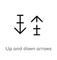 outline up and down arrows icon isolated black vector image vector image