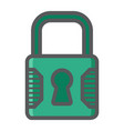 padlock colorful line icon security and lock vector image vector image