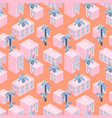 pink house blocks seaside seamless pattern vector image vector image