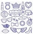 Princess Fashion Patches Coloring Set vector image
