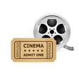 retro cinema ticket and film reel of designer vector image vector image