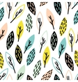 seamless hand drown leaf pattern vector image