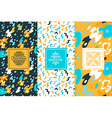 set design elements and seamless pattern vector image