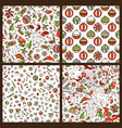 set of cartoon merry christmas seamless patterns vector image
