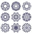 Set of nine circular patterns vector image vector image