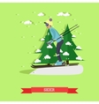 skier in flat design vector image