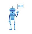 smiling chat bot waving hand saying hello vector image vector image