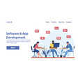 software development concept with coders at work vector image