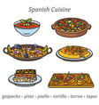 spanish cuisine icons vector image vector image