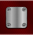 square metal plate on red perforated background vector image vector image