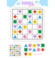 sudoku for kids with various cute geometric vector image