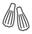 swimming flippers line icon diving and underwater vector image vector image