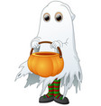 the ghost carrying basket pumpkin isolated white b vector image