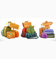 travel bag backpack suitcase and wooden sign vector image