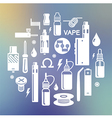 Vape and accessories on blurred background vector image vector image
