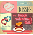 vintage retro postcard to valentines day vector image vector image