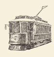 vintage tram engraved hand drawn vector image vector image