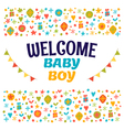 Welcome baby boy Baby boy shower card Baby boy vector image vector image