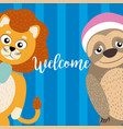 welcome card with cute animals vector image vector image