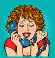 woman embarrassed embarrassment shame telephone vector image vector image