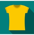 Yellow t shirt icon flat style vector image vector image