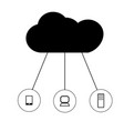 cloud network on white background cloud network vector image