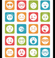 20 smiles icons set child in square vector image vector image