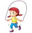 A cute little girl playing skipping rope vector image