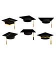 academic caps icons university black hats vector image