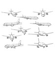 airplane sketch civil aviation aircraft icons vector image