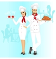 Attractive man and woman chefs vector image vector image