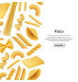 banner realistic pasta types background vector image vector image
