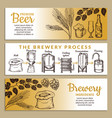 banners set of brewery of beer vector image