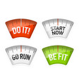 bathroom scales displaying do it start now go run vector image vector image