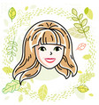 beautiful blonde female face positive face vector image