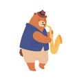 brown teddy bear in hat playing sax cute romantic vector image