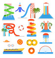 cartoon aquapark playground elements set vector image