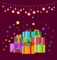 christmas gifts festive boxes vector image vector image