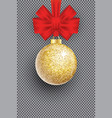 christmas golden glitter ball and red vector image vector image