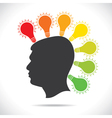 colorful bulb glow on head of people vector image vector image