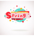colorful word SPRING with glass of vine vector image