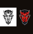 devil head in two styles black and colorful vector image vector image